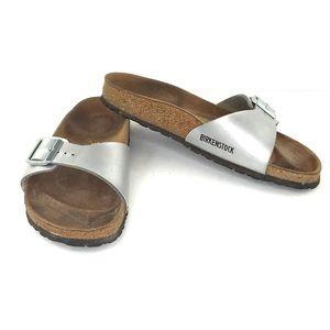 Birkenstocks Single Silver Strap Buckle Sandals